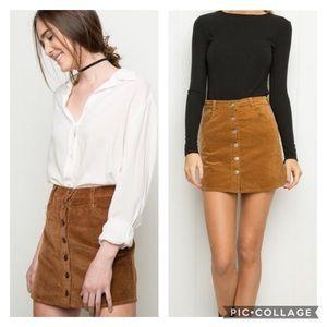 Brandy Melville Corduroy Front Button Mini Skirt